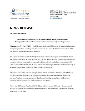 NEWS RELEASE - Health Dimensions Group