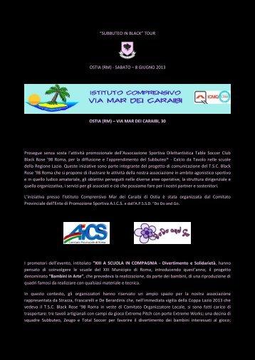 Subbuteo in Black Tour - Istituto Comprensivo Mar dei Caraibi