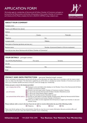 APPLICATION FORM - London Chamber of Commerce and Industry