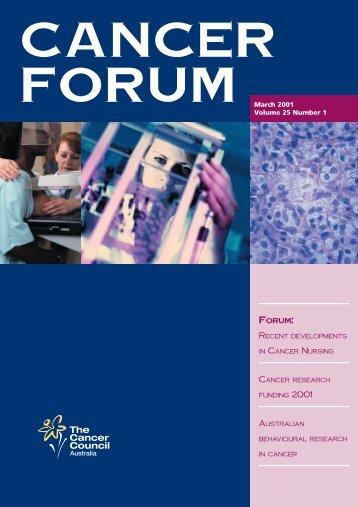 Forum March 2001 Volume 25 Number 1 - Cancer Forum