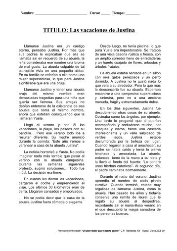 4 PRUEB 2 las vacaciones de Justina texto y preguntas - Illueca