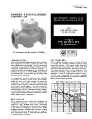 HFC Constant Flow Regulators - Hansen Technologies