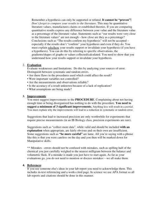 IB Biology Lab Report Template