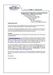 Postgraduate Programme in Nursing Studies - Oxford Brookes ...