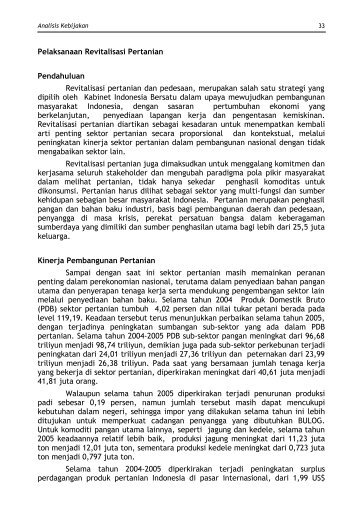 Pelaksanaan Revitalisasi Pertanian - Pusat Sosial Ekonomi dan ...