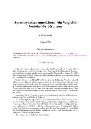 Sprachsynthese unter Linux - ein Vergleich bestehender L ¨osungen
