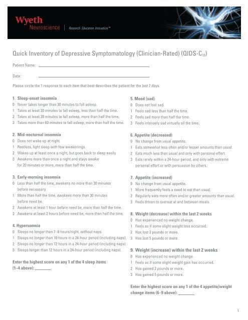 Quick Inventory of Depressive Symptomatology (Clinician ... - PfizerPro