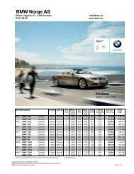 E93 - 3-serie Cabriolet 01.2009 Veiledende prisliste - BMW