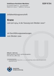 GUV-V D 6 (bisher GUV 4.1) - Krane - Unfallkasse NRW