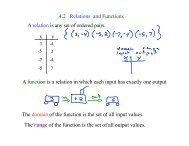 4.2 Relations and Functions A function is a relation in which each ...