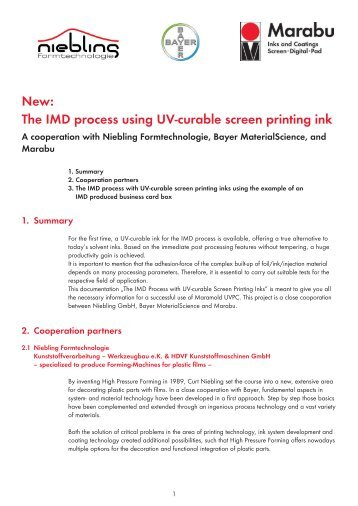 New: The IMD process using UV-curable screen printing ink - Marabu