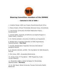 Steering Committee members of the IRMWG