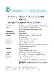Ausschreibung Jugend- VTV-Landesmeisterschaften 2013