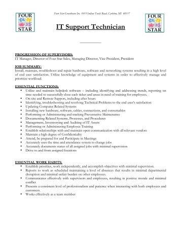 Job Description: Application Support Technician