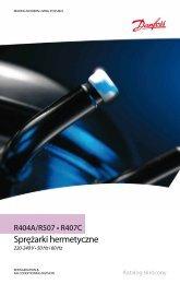Danfoss sprężarki hermetyczne R-404A katalog