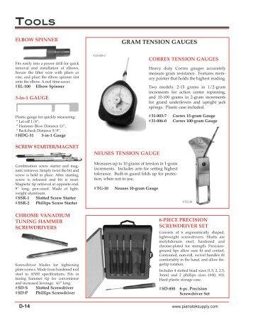 gauges & micrometers view catalog - Pianotek Supply Company