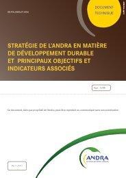 sa propre stratégie de développement durable - Andra