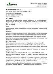 PLANO DE ENSINO 2011-2 DISCIPLINA: Políticas Públicas em ...