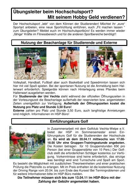 Hochschulsport - Universität Vechta