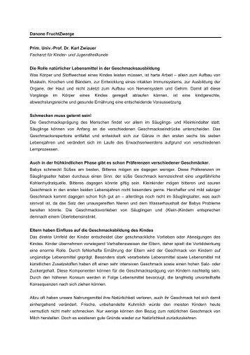 Danone FruchtZwerge Prim. Univ.-Prof. Dr . Karl Zwiauer Facharzt ...