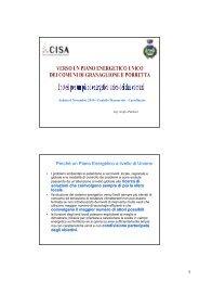 Ipotesi per un piano energetico unico dei due comuni - Centro CISA