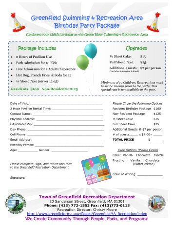 Birthday Party Packages - Town of Greenfield