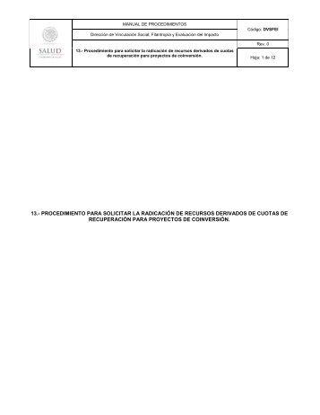 13.- procedimiento para solicitar la radicación de recursos ... - Inicio