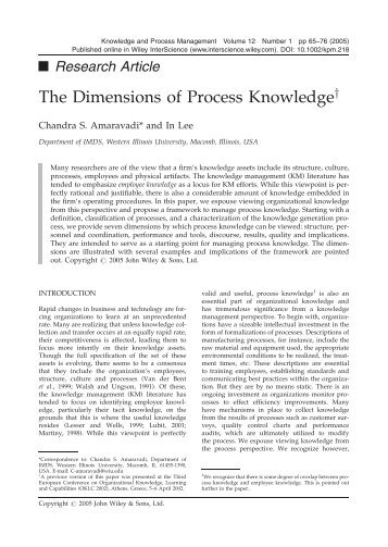 The dimensions of process knowledge