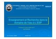 Enseignement et Recherche dans le domaine de l'eau à L'ESP