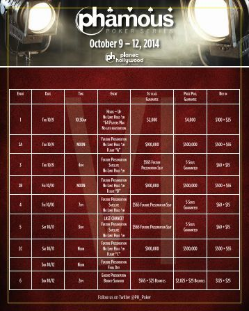 casino niagara poker room tournaments