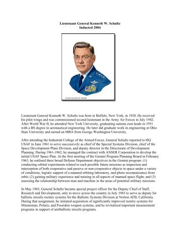 Lieutenant General Kenneth W. Schultz, USAF - Air Force Space ...