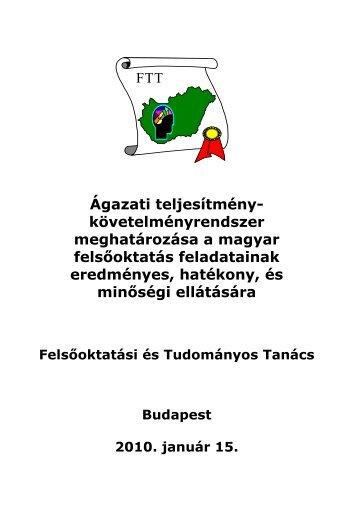 Ágazati teljesítménykövetelmények (pdf) - Felvi.hu