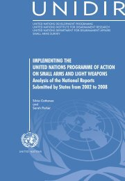 Implementing the UN Programme of Action on Small - UNIDIR