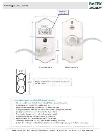 Modern Keypad Leverset Locksets Installation Emtek