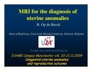 MRI for the diagnosis of uterine anomalies - eshre