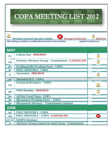 CO OPA A M EET TIN NG L LIST T 20 012 - IFA Home Page