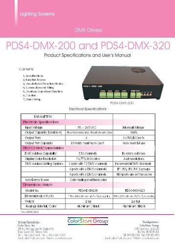 PDS4-DMX-320 User's Manual - ColorStars