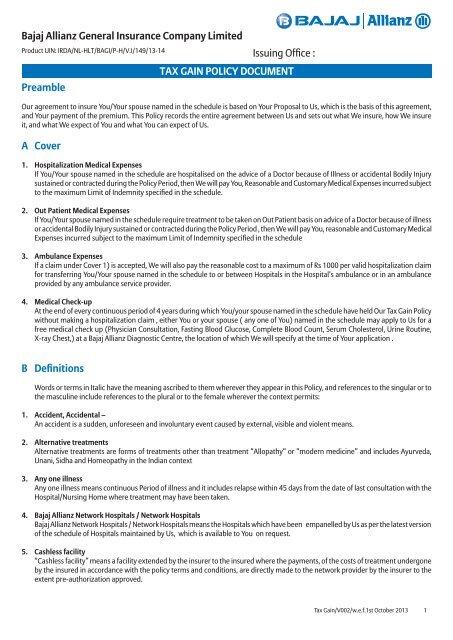 Bajaj Allianz Health Insurance Premium Receipt - Insurance
