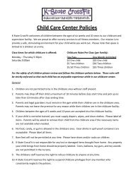 Child Care Center Policies