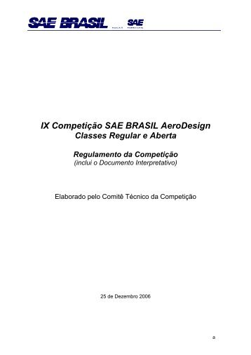 REGULAMENTO Aerodesign Brasil - 2007 - UFSC Aerodesign