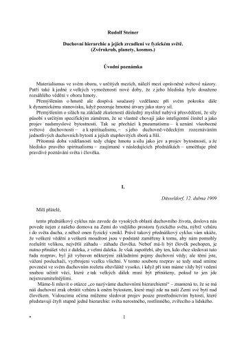 Rudolf Steiner Duchovní hierarchie a jejich zrcadlení ve fyzickém ...