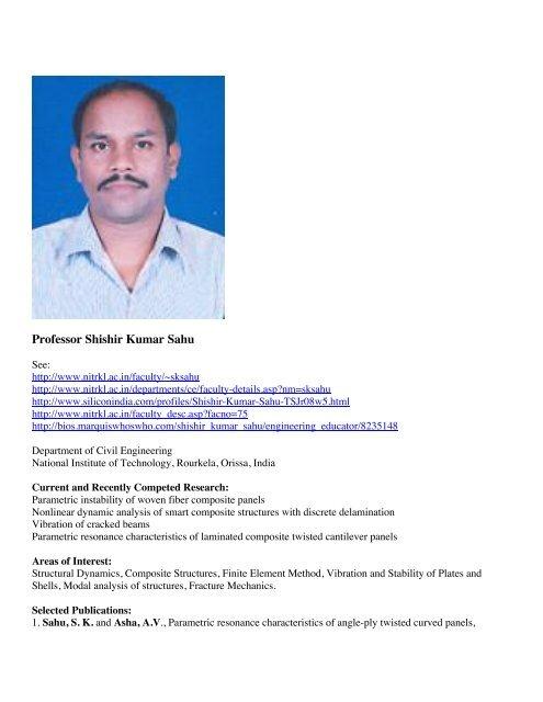 Professor Shishir Kumar Sahu - Shellbuckling com