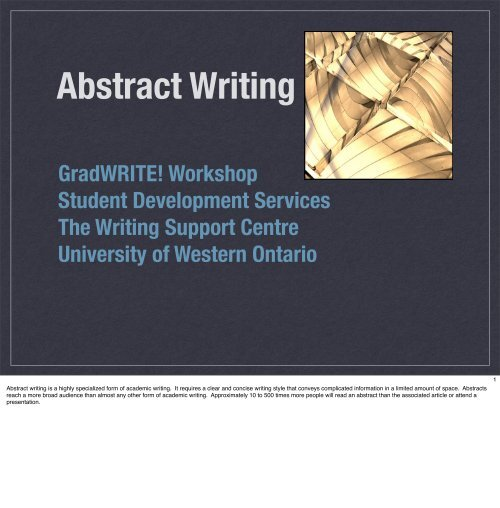 Abstract Writing - Student Development Services - University of ...