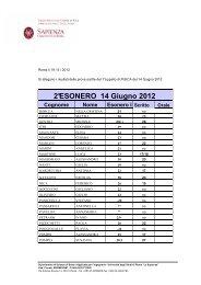 Risultati appello 14 Giugno 2012 - Sapienza