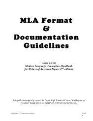 MLA Format & Documentation Guidelines - John Carroll Catholic ...