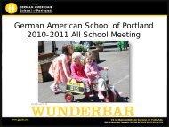 German American School of Portland 2010-2011 All School Meeting