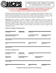 Performance Matters- Parent Access Form - Washington County, MD ...