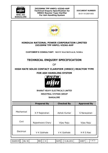 9. enquiry specification for clarifier - BHEL - Industrial Systems Group