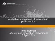 Australian Experience - Innovation in Public Sector - Ms. Tricia Berman