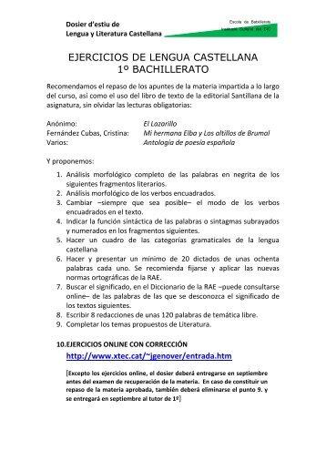 ejercicios de lengua castellana 1º bachillerato - Inici / Acces intranet